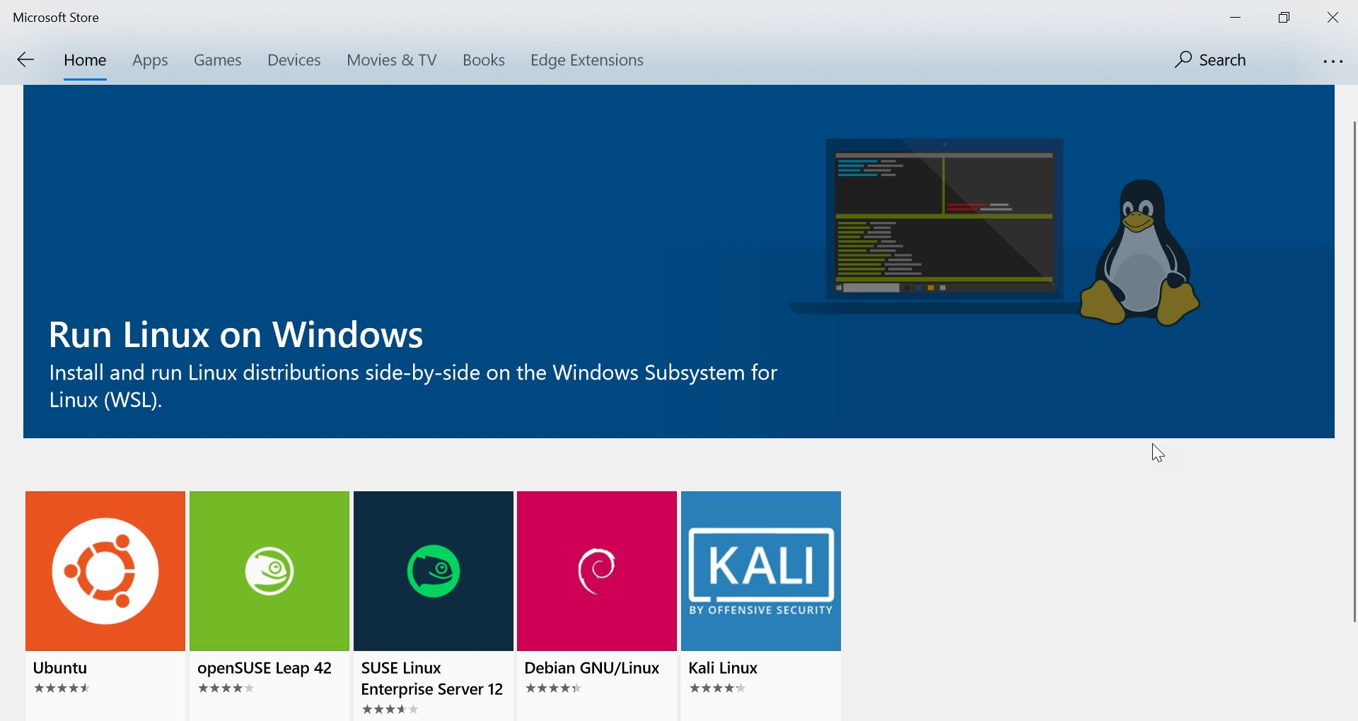 Microsoft Store Linux Distributions screenshot