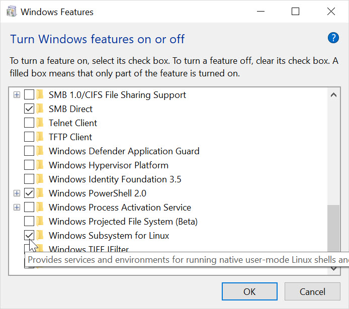 Windows Features control panel screenshot