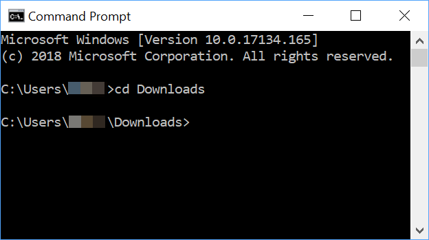 Windows command prompt with cd command